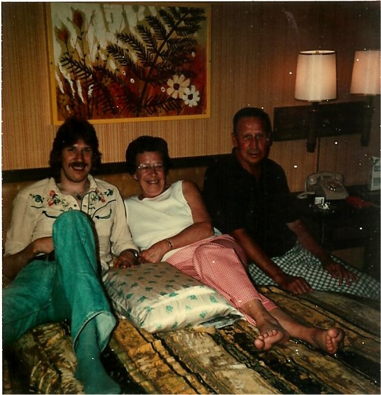 Ken Wiles and Family in Motel Room between jobs