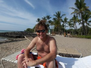 This photo was taken in 2011 on the beach near our Big Island condo which we sold that year. I still have most of my hair!