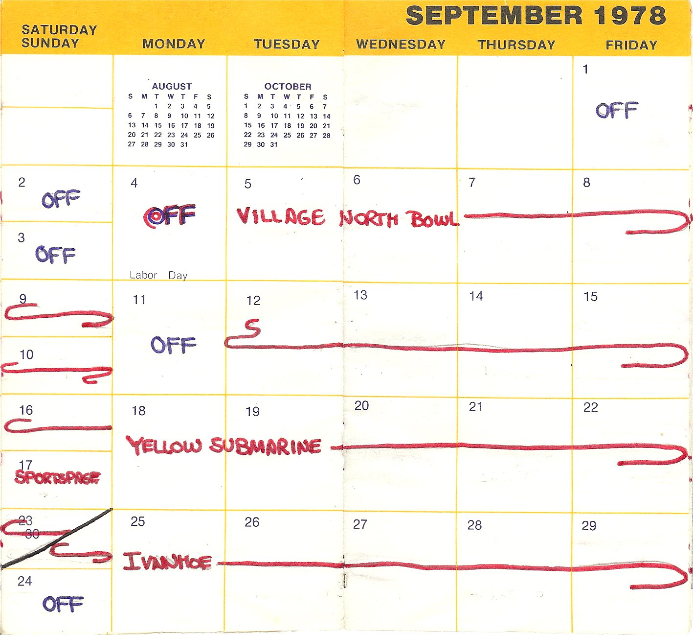 1978 Calendar September.From The Silver Laughter Booking Calendar For September 1978 The