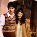 Freda Kelly and Paul McCartney outside the Atlantic Hotel in Newquay, 1967, during filming of Magical Mystery Tour