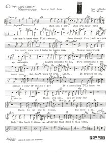"""Lead Sheet - """"Rock and Roll Game"""" - Pg 1 1977"""