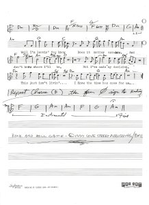 """Lead Sheet - """"Rock and Roll Game"""" - Pg 2 1977"""