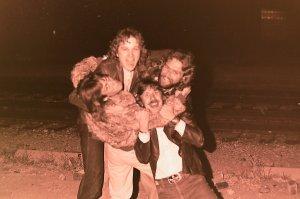 Silver Laughter 1978 - Mick upside down, Jon, Paul and Ken below