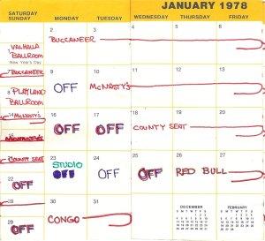 Jan. 1978 Booking Calendar