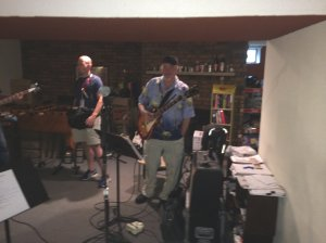Mark Zaputil at rehearsal - That's Jon's Rickenbacker on the left