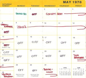 May 1978 Silver Laughter Booking Calendar
