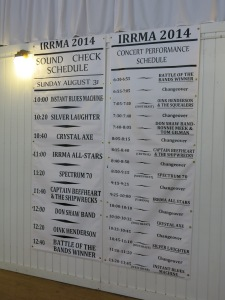 IRRMA Concert and Sound Check Schedule
