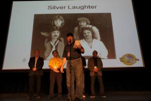 Jon speaking for Silver Laughter at the induction ceremony