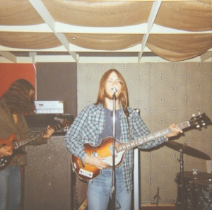 Mick Orton circa 1972 - thumbing my old Hofner with Craig to my right.