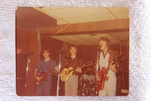 Silver Laughter on a very small stage: Mick, Jon,Ken and Paul on drums