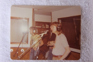The boys recording harmonies