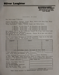 T-shirt order sheet