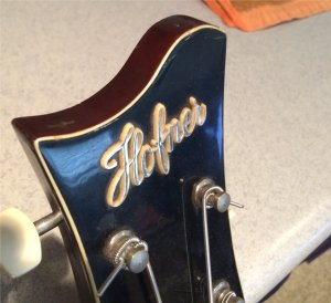 Hofner headstock with raised lettering