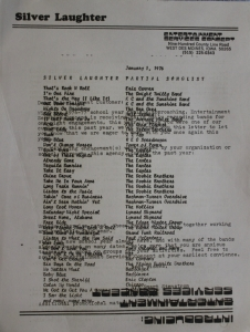 1976 Silver Laughter Song List