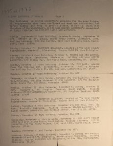 Newsletter - 1976 - Itinerary