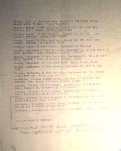 1978 Booking Schedule 07-11