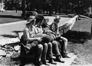 Early Silver Laughter - 1970's: Kim, Steve, Denny, Jon and John lying across the bench