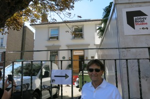 MIck in front of the studio entrance