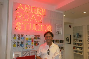 Mick in Abbey Road gift shop