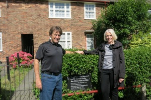 Mick and Janis in front of McCartney Home